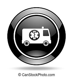 ambulance black glossy icon