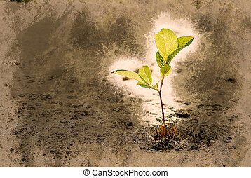 green sprout on stone Vintage painting, background...