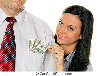 Woman pulls a man out of the money TascheDollar - Young...