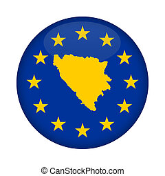Bosnia and Herzegovina map European Union flag button -...