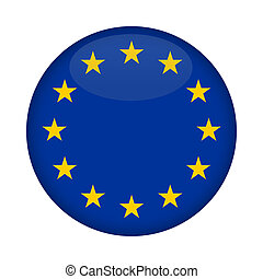 Blank Euro Flag button isolated on a white background