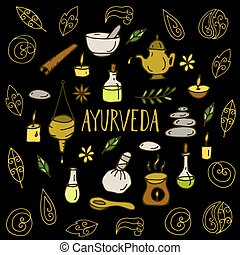 Ayurveda healthcare and treatment - Hand drawn round...