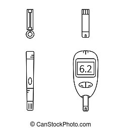 Line icons set of glucose meter,lancet,lancing device and...
