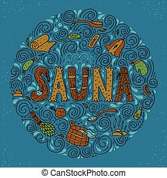 hand drawn sauna objects - Vector background in circle shape...