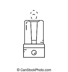 Home climate appliances. Air humidifier. Vector line icon.