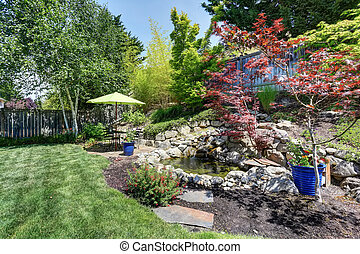 Backyard garden with beautiful landscape