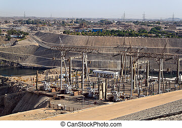 Egypt, Aswan, power plant. Egyptian power plant in Aswan. -...
