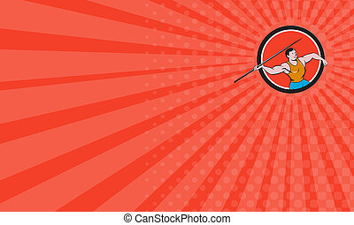 Business card Javelin Throw Track and Field Circle Cartoon -...
