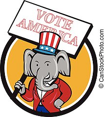 Republican Elephant Mascot Vote America Circle Cartoon -...