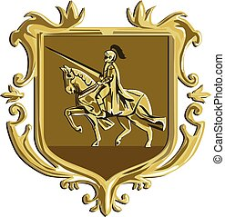 Knight Riding Steed Lance Coat of Arms Shield Retro -...