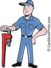 Plumber Standing Pipe Wrench Cartoon - Illustration of a...