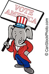 Republican Elephant Mascot Vote America Cartoon -...