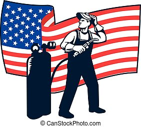 Welder Standing Visor Up USA Flag Wavy Retro - Illustration...