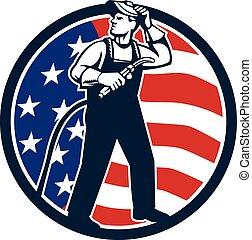 Welder Standing Visor Up USA Flag Circle Retro -...