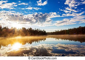 Sunrise Over Misty Lake in Payson Arizona - Beautiful...