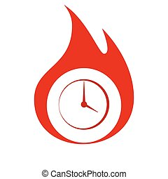 Flat round clock vector icon - Flat round clock stock vector...