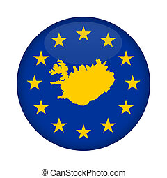 Iceland map European Union flag button - Iceland map on a...