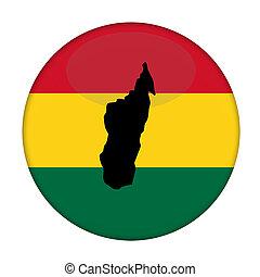 Madagascar map on a Rastafarian flag button