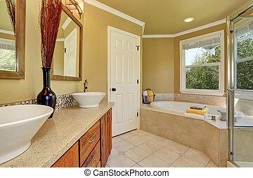 luxueux, salle bains, intérieur, dans, chaud, beige, couleur