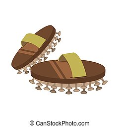 asian spa slippers icon - flat design asian spa slippers...