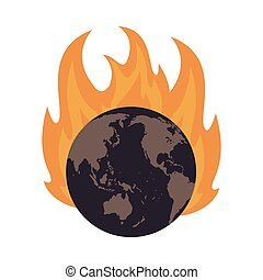 earth globe on fire icon