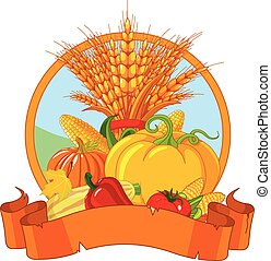 Thanksgiving Harvest Design - Seasonal design with plump...