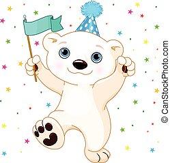 Polar Bear Party - Illustration of cute polar bear...