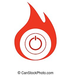 Power sign icon Flat design style - Power switch icon Flat...