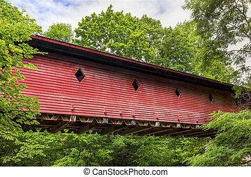 Newfield Covered Bridge - The red wooden Newfield Covered...