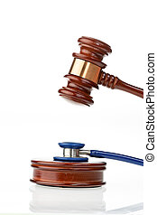 Stethoscope and Gavel - Stethoscope and judges hammer as a...