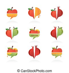 set of abstract icons for Rosh Hashanah Jewish holiday...