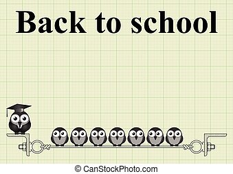Back to school message on graph paper background with copy...