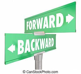 Forward Vs Backward Two Way 2 Road Signs 3d Illustration
