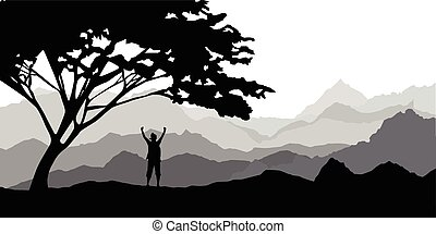 Silhouette of the tourist, climber of the girl