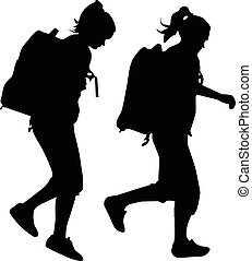 People with backpack vector silhouettes