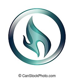 blue flame icon - flat design blue flame icon vector...