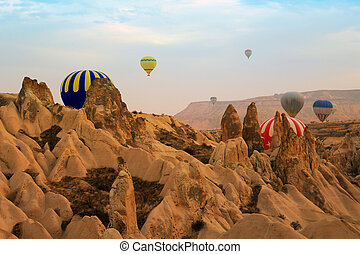 Hot air balloon, Cappadocia Turkey sunrise - Hot air...