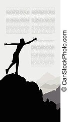 Silhouette of man hand up on the top mountain