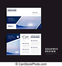 Picturesque brochure template design with rising sun over...