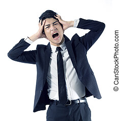 stressed businessman portrait - Portrait of stressed young...