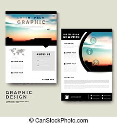 Picturesque brochure template design with city landscape