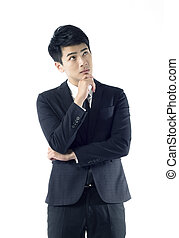 thoughtful young businessman - Portrait of thoughtful young...