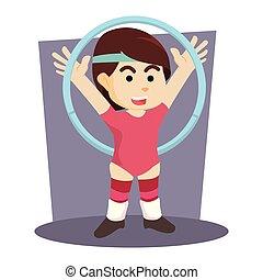 female hoola hoop acrobatic