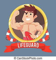 life guard in emblem with banner