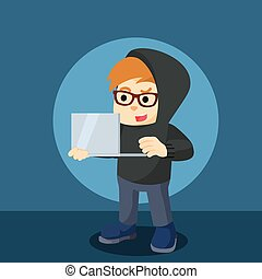 hacker holding laptop illustration design
