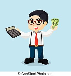 accountant holding calculator and money