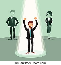 cheerful businessman with arms up under spotlight,...