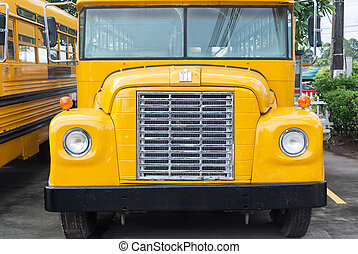 School bus in parking stay for kid