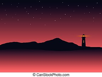 Abstract background silhouette sea scenery with lighthouse