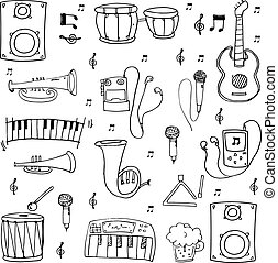 Many element hand draw music theme doodles